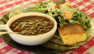 Black Bean Soup w/ Corn Bread & Salad