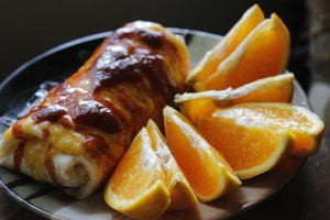 Healthy Burrito & Oranges
