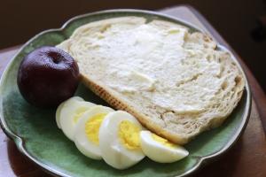 Sourdough Toast, Hard Boiled Egg & Plum