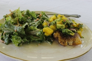 Pan-Seared Fish w/ Mango Salsa & Salad
